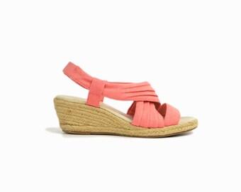 Vintage 90s Peach Wedge Sandals / Espadrille Wedges / 90s Sketchers Shoes - women's 7