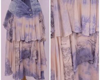 80s 90s acid wash denim skirt with shibori tie dye silk long jean tier maxi skirt corset high waist avant garde Maick Harold Paris 26 waist