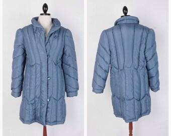 Slate Blue Vintage Down Puffer Coat Oversized Puffy Long Warm Winter Jacket Small Medium