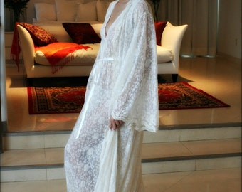 Embroidered French Lace Bridal Robe Wedding Lingerie Bridal Sleepwear Ivory Lace Robe Bridal Lingerie Angel Sleeve Wrap Robe