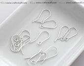 20 Sterling silver earwires - simple fish hook (ten pairs) - OG-1