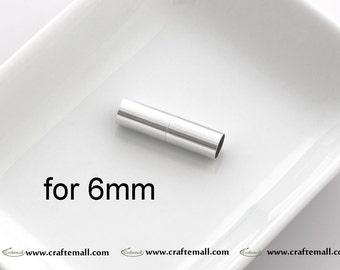 1 Sterling Silver Magnetic Clasp for 6mm Cords - Glue in Magnetic Clasp for 6mm Cords - ZM11/6