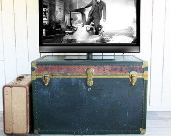 Extra Large Miller Manufacturing Steamer Trunk with Wonderful Patina and Lots of Storage Capacity