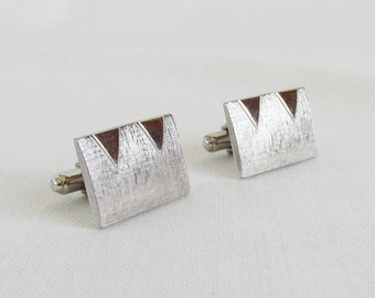 "Mid Century Silvertone Cuff Links ""M"" or ""W"" Shape"