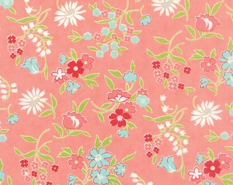 Pink Moda Vintage Picnic Fabric Bonnie & Camille Fabric Pink Floral Fabric Quilting Fabric - By The 1/2 Yard