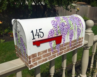 Hand painted mailbox, painted mailbox with wisteria, special order,  flower mailbox, yard art, personalized mailbox, custom mailbox,