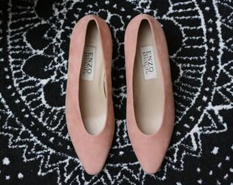 Vintage Enzo Angiolini Blush Pink Block Heel Pumps