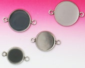 50 Pendant Trays Stainless Steel 8mm/ 10mm/ 12mm/ 14mm/ 16mm/ 18mm/ 20mm Round Bezel Setting W/ 2 Rings Wholesale Pendant Base Mountings
