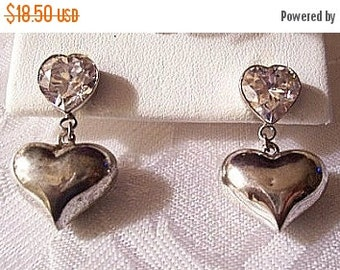 ON SALE Double Heart Dangle Pierced Post Stud Earrings Silver Tone Plated Vintage Clear Faceted Cut Crystal Round Links