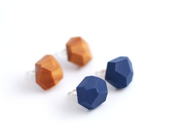 Geometric stud earrings | Diamond shape studs| Geometric post earrings | Set of earrings two pairs - dark blue and gold color