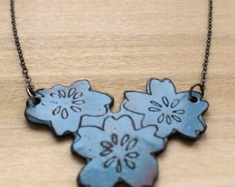 Champleve Enamel Flower Necklace-blue