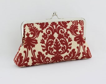 Ruby Red Damask Bridesmaid Clutch / Wedding Gift / Bridal Clutch - the Florence Style Clutch