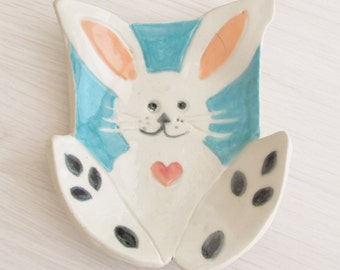 Childs Soap Dish Ceramic Pottery Spoon Rest Handmade Easter Bunny  Soap Dish Stoneware Catch All  Kitchen Dish