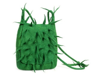 Felted green cactus messenger felt handbag wool bag grass Terrific Fashion Regina Doseth handmade Lithuania EU