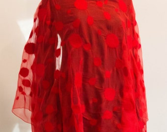Felted red silk  chiffon and wool shawl, red shawl, nunofelt shawl, nunofelt, silk chiffon, Regina Doseth handmade in Lithuania Europe