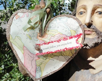 I Would Follow You Anywhere Valentines Handmade Puffy Heart Decoration or Gift Vintage Paper