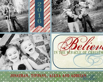 Believe In the Miracle - Custom Photo Christmas Card