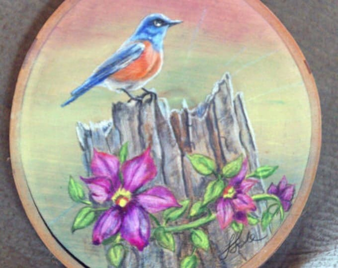 Bluebird With Clematis Painting on Birch Wood