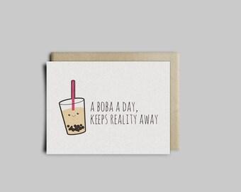 Bubble Tea, Boba Tea Greeting Card