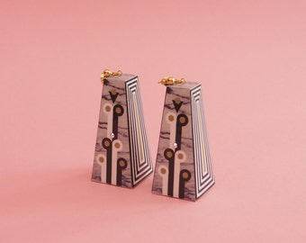 "Geometric Earrings // Marbleized Earrings // Made To Order // Graphic Earrings // Op Art // Art Deco Jewelry // The ""Mad Woman"""