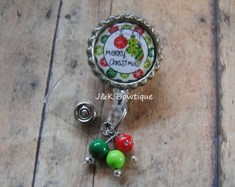 Merry Christmas retractable badge reel, nurse badge holder id reel, RN nurse badge holder, id badge reel, nurse badge reel
