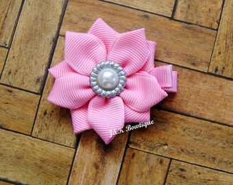 Mini ribbon flower bow...Light Pink...Silver center...hairbow