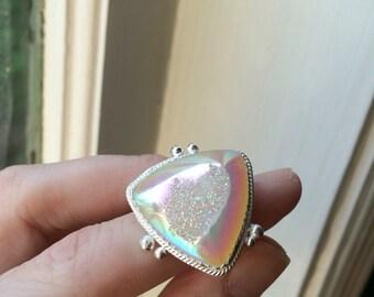 Opal Angel Rainbow Aura Quartz Crystal Druzy Sterling Silver Ring - Size 7