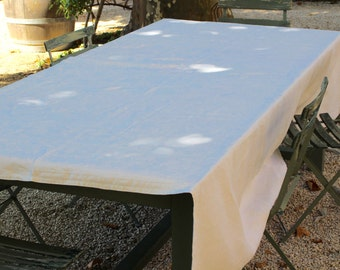 Antique French Linen Damask Tablecloth .  Hand Embroidered Initials EM. Large.