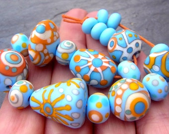 Saltwater Taffy - Handmade Lampwork Glass Bead Set (19) by Anne Schelling, SRA