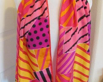 "Oscar de la Renta // Lovely Colorful Pink Soft Silk Scarf // 11"" x 52"" Long // Best of the Best"