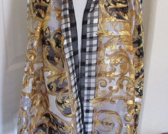 """Beautiful White Gold Black Sheer Soft Poly Scarf - 15"""" x 60"""" Long"""