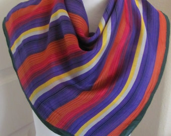 "Kenzo // Beautiful Colorful Stripe Silk Scarf // 25"" Inch 63cm Square // Best of the Best"