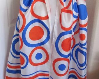 "Jaleh Joseph // Vintage Ladies White Blue Red Silk Scarf // 15"" x 70"" Long"