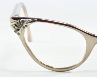 Vintage Cat Eye Glasses, Aluminum with Rhinestone Corners, Hasday, 1960s, 1950s
