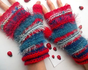 HAND KNITTED GLOVES / Women Accessories Fingerless Mittens Striped Warm Wrist Warmers  Crochet Winter Arm Romantic Cabled Gift Feminine 962