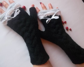 HAND KNITTED GLOVES / Women Accessories Fingerless Mittens Elegant Warm Wrist Warmers  Crochet Gift Winter Cabled Romantic Striped Lace 1055