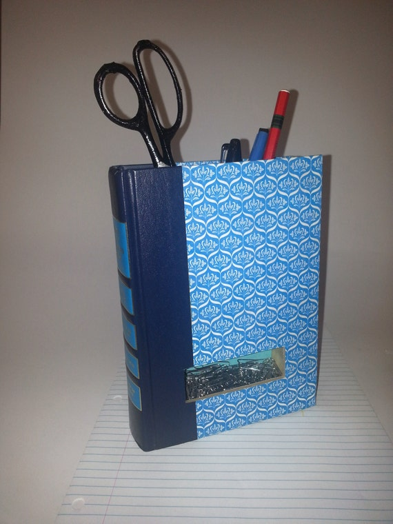Desk Organizer Recyled Book Pencil Holder Upcycled