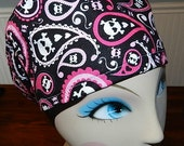 Paisley Love Skulls  European Style  Surgical Scrub Cap with Toggle