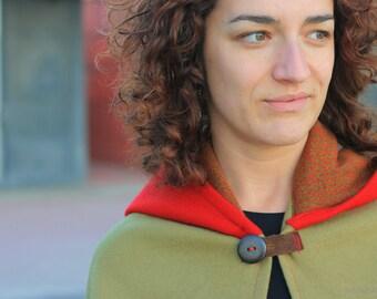 Poncho coat, Hooded cape, Red Riding Hood, Hooded poncho, Hood, Wool coat