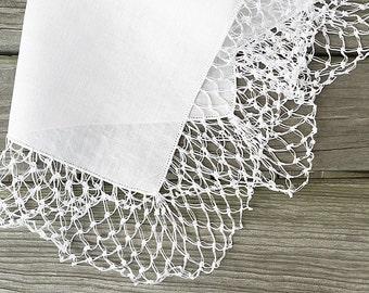 Vintage Lace Bridal Hankie Bridal Handkerchief White Lace Hankie Brides Handkerchief Heirloom Wedding Hankie Something Old