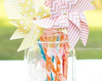 Pinwheel pixy stick - party favors - birthday party favors, baby shower favors - your choice of colors and patterns