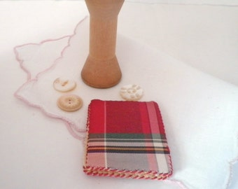 Antique Tartan Plaid Needle Book Sewing Accessory Pin Case Keep Stewart