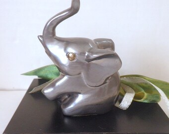 Vintage Pewter Elephant Paperweight Trunk Up