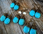 turquoise dangle earrings gifts under 25 Joellie messy wire wrapped country western cowgirl long accessories wire wrapped