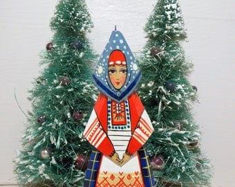 Russian Lady in Red White and Blue Dress Lacquer Wood Ornament