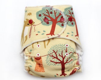 One Size Fitted Hybrid Cloth Diaper Autumn Breeze w/ Organic Knit and OCV lining inside
