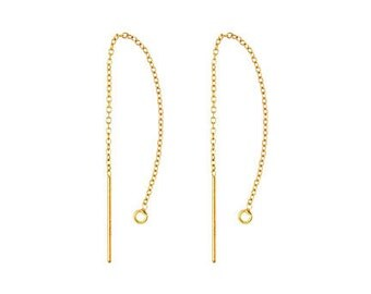"""2pcs (1 pair), 14k Gold Filled Ear Thread, 3 1/8"""", 80mm, cable chain ear thread, ear thread with an open jump ring"""