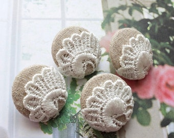 Fabric Covered Buttons - Chic Embroidery Ivory White Peacock Paisley Shell Flower Floral On Beige (4Pcs, 0.98 Inch)