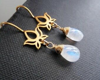 Lotus earrings with rainbow moonstone, Gold Lotus jewelry, customize gemstone