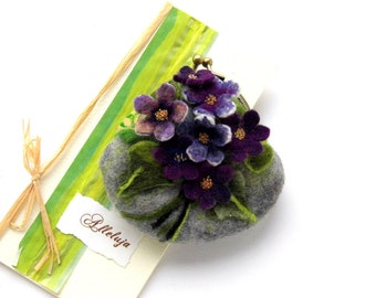 Wet Felted FLOWER Violets  coin purse Ready to Ship with bag frame metal closure Handmade  gift for her under 50 USD